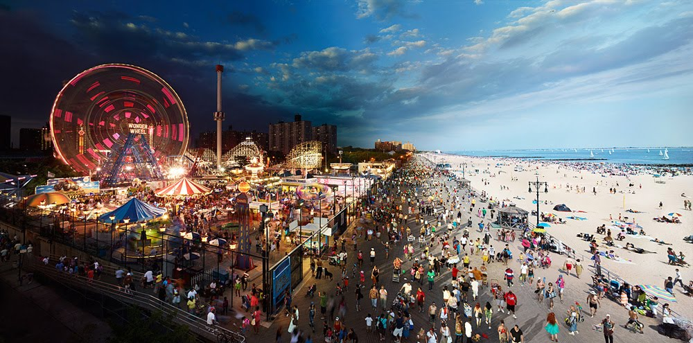 day night combined Coney Island1 New York City, Day and Night Combined By Stephen Wilkes (Photo Gallery)