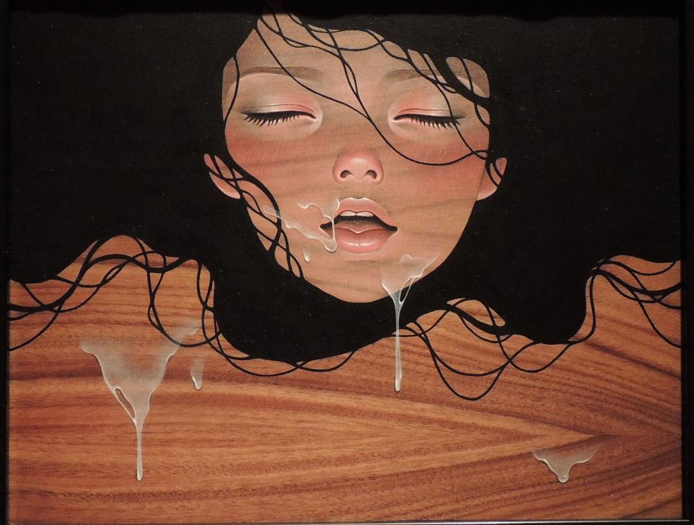 audrey-kawasaki-drip-oil-acrylic-graphite-wood-risque-2013